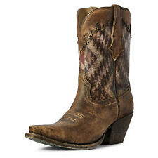 Ariat 10031498 Women's Distressed Natural Circuit Gemma Snip Toe Cowgirl Boots