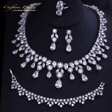 4 Tlg. Zirkonia AAA+ Schmuckset Ohrringe Ring Collier Bracelet XL Silber Weiss