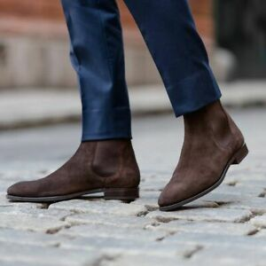 Handmade Mens Chelsea boots, Mens ankle boots, Men Suede Chelsea boots, Men boot