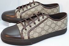 New Gucci Mens Tennis Shoes Sneakers Brown Beige Size 10 GG Logo Lace Up