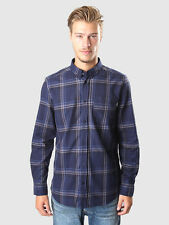 Bnwt WESC OJA uomo L / S REGULAR FIT COTONE Camicia blu peacoat XS
