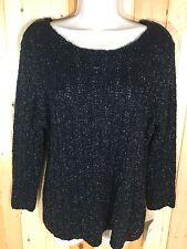 NEW! Carolyn Taylor Glimmer Knitted Sweater 3/4 Sleeve Black & Metallic Tread XL