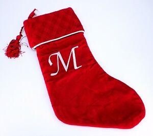 Harvey Lewis Monogram Letter M Luxurious Velvet Christmas Stocking Stuffer Gifts