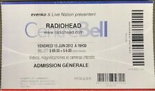 Radiohead Ticket Stub 2012 Montreal Bell Centre