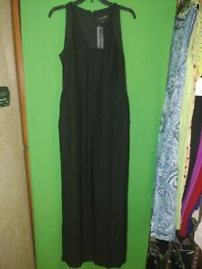 2587)  NWT BANANA REPUBLIC 2 pant jumpsuit black polyester fitted sleeveless 2