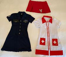 3x red white cheerleading skirt nurses policewoman outfit uniform sexy zip dress