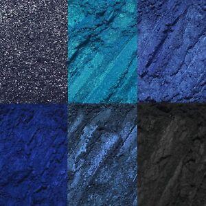 6 pc Blue Black Intense Loose Pigment Eyeshadow Set Palette Glitter Fine NEW