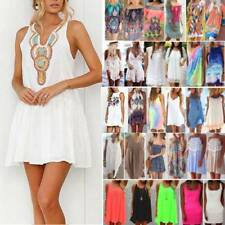 Womens Summer Short Mini Dress Sleeveless Casual Beach Cover Up Kaftan Sundress