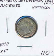 STRAIT SETTLEMENTS 10 CENTS 1893 VICTORIA KM#11 - XF