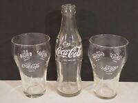 Vtg COCA-COLA COKE 6 1/2 oz Clear Bottle & 2 Multilingual Drinking Glasses