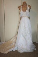 David's Bridal Champange Beaded Lace Halter Wedding Dress Size 16 and Petticoat