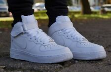 Kids Nike Air Force 1 Mid 06 GS Leather White Branded Footwear Shoes Trainers 6 UK - 39 EU