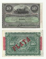 Billete español colonial 1896 oportunidad  historia de ultramar 10 pesos