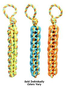"BIG Braided Rope Tug Dog Toy Tough TPR Rubber Tangle Handle Colors Vary 20"" Long"