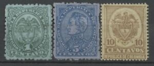 No: 69560 - COLOMBIA - LOT OF 3 OLD STAMPS - UNUSED (no gum)!!