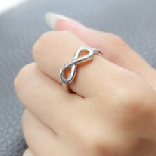 2Pcs White Gold Plated 8 Shape Big&Lil Sister Letter Family Rings Jewellery New