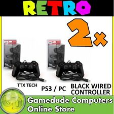 2x TTX Tech PS3 / PC RED Wired Controller MODEL : NXP3-268 (849172001268) [05]