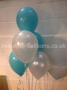 30 Caribbean Turquoise 'Just Married' Balloons Wedding Range (Helium Quality)