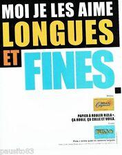 PUBLICITE ADVERTISING 116  2001  le papier à rouler Rizla longues & fines