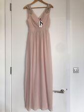 BNWT TFNC ASOS WEDDING WRAP MAXI BLUSH NUDE DRESS EMBELLISHED SHOULDERS UK 8/10
