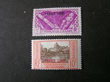 "FRENCH POLYNESIA, SCOTT # 131/132(2),5fr+10fr. VALUES 1941 ""FRANCE LIBRE"" MVLH"