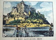 LITHOGRAPHIE EN COULEUR 19 EME LE MONT SAINT MICHEL MANCHE BASSE NORMANDIE