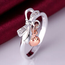 925 Silver Plated Zircon Heart Ring/Thumb Ring Women Fashion Jewelry *UK Seller*