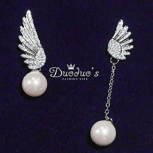 18K White Gold Plated Asymmetrical Peal Wings Stud Earrings