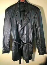 Mens Leather Black Jacket 40 Regular W/Belt
