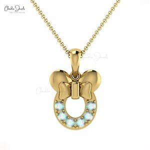 14K Yellow Gold Beautiful Mickey Theme Pendant Natural Opal Pendant For Girls