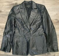 Express Women's Black Leather Jacket Coat Blazer Size 9/10 Button EUC