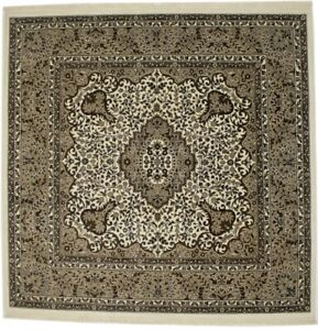 Cream Plush Square Hand-Knotted Kirman 6X6 Oriental Home Decor Area Rug Carpet