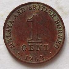 Malaya & British Borneo 1 cent 1962 coin (C)