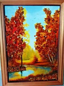 Amber Genuine Picture Birches Near Lake Wooden Pine Frame VG041