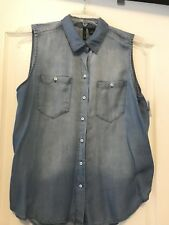 New Directions Sz 1X Curvy Blue Denim Washed Sleeveless Buttoned Down Blouse!