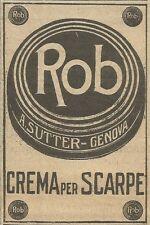 W5926 Crema per scarpe Rob - A. Sutter - Genova - Pubblicità 1924 - Advertising