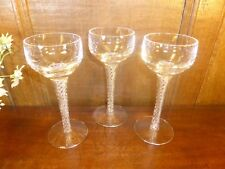 EXCELLENT STUART crystal SET of 3 ARIEL or IONA tall WINE/HOCK GLASSES - 7""