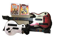 Nintendo Wii Bundle 2 Guitar Hero Controllers Games Straps Tested Lot World tour