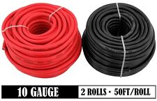10 Gauge 50ft Red & 50ft Black 12V Auto Trailer Harness Primary Wire Solar Cable