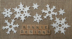 FELT x8 FANCY SNOWFLAKES Mixed Sizes die cut Christmas Appliqués Frozen  VARIOUS