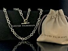 "David Yurman Silver 18k Y Gold Figaro Chain Necklace Toggle 33""L 81 gr. w/ Pouch"