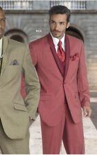 NEW EJ Samuel Super 150's Men's One Button 3 pc Suit BRICK RED Striped 42L/36W