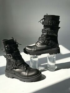 Black leather combat boots for womens size 8.5 Handmade