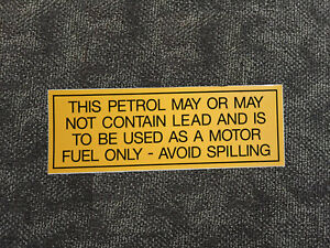 Shell 'Lead Warning' self-adhesive vinyl sticker for petrol bowser