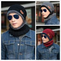 2-in-1 Men's Winter Beanie Hat Scarf Warm Knitted Skull Cap with Scarf Set