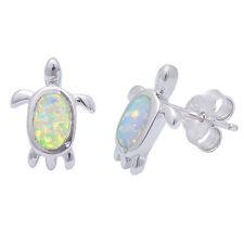 White Australian Opal Turtle Stud Style .925 Sterling Silver Earring