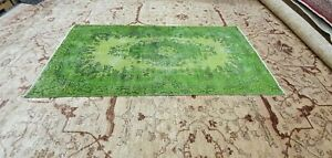 """Antique Cr1930-1949's Distressed Wool Pile Overdyed Oushak Area Rug 3'7""""×7'3"""""""
