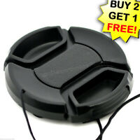 55mm Lens Cap center pinch snap on Front Cover string for Canon Nikon Sony -e161