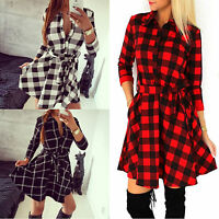 Damen V-Neck Kariert Plaid Langarm Longshirt Mini Skater Pleated Swing Kleider