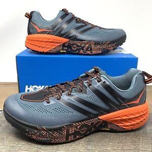 Hoka One One Speedgoat 3 Running Shoes Gray/Orange - Men's US 12